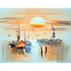 'Wall Boats,Sea Gulls,Lighthouse And Sun' Oil Painting, 10x13 Inch / 25x33 Cm ,printed On High Quality Polyster Canvas ,this Imitations Art DecorativeCanvas Prints Is Perfectly Suitalbe For Nursery Gallery Art And Home Gallery Art And Gifts