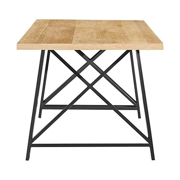 """2xhome Light Wood - Modern Wood Table Grey Steel Metal Legs Frame Dining Table 71"""" inches"""