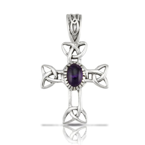 WithLoveSilver Sterling Silver 925 Celtic Cross Natural Amethyst Stone Pendant