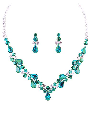 "Elegant Clear & Deep Teal Blue-Green Rhinestone Teardrop Bib Statement Necklace 14"" & Post-Back Earrings ()"