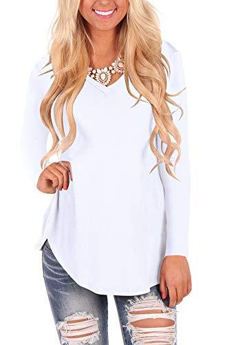 - WFTBDREAM Womens Long Sleeve Hem T Shirt V Neck Hem Solid White M