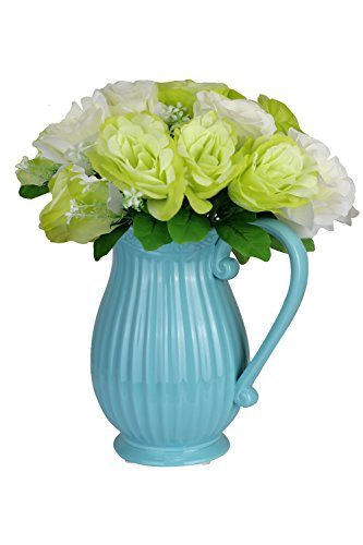 Porcelain Vase Set (LEANDALE V1703 Decorative Vintage Porcelain Vase with Artificial Flower Bouquet,table ware,Garden Giftware in Gift Box (Blue with flower))