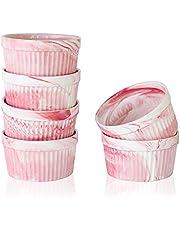 Yundu 8 Ounce Porcelain Ramekins - Perfect for Creme Brulee, Ramekins Oven Safe, Ramekins Bowls for Baking, Soffle Dish-Set of 6, Marble