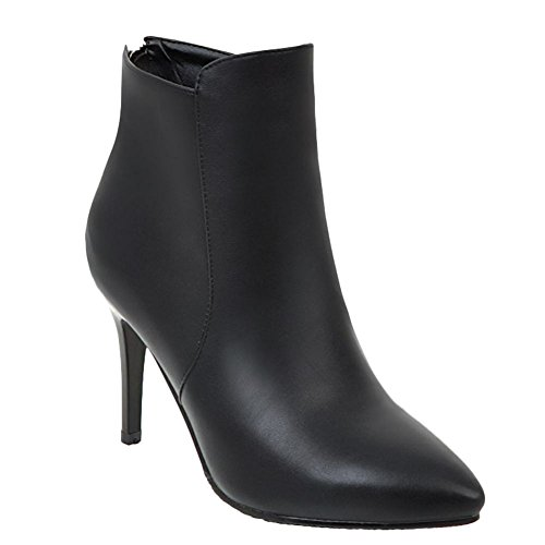 Mee Shoes Women's Chic High Heel Zip Pointed Toe Short Boots Black JVinQ