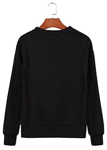 Womens Sports Bordado manga larga Raw Edge camiseta de gran tamaño Ladies Fleece recortado Top Negro