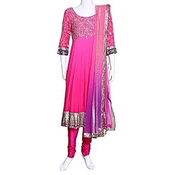 Kalaniketan Pink Festive Anarkali Set For Women