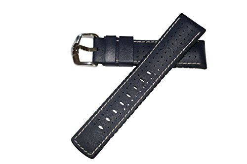 Hirsch Performance TIGER Leather Sport Watch Strap Rubber Lining Blue w/White Stitching 20mm