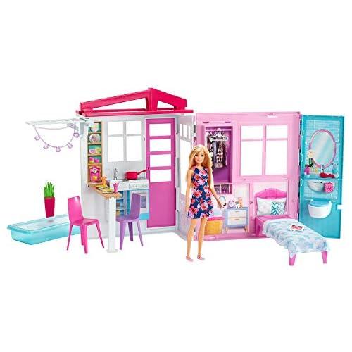 chollos oferta descuentos barato Barbie Casa amueblada pleglable con cocina piscina dormitorio y lavabo con muñeca rubia Embalaje sostenible edad recomendada 3 años y más Mattel GWY84