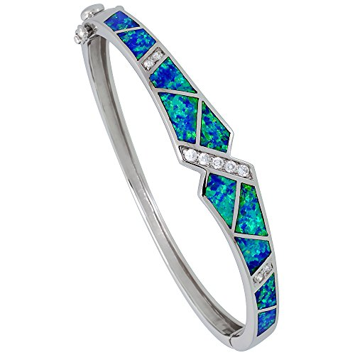 Sterling Silver Synthetic Opal Bangle Bracelet for Women Quality CZ accent 3/16 inch wide
