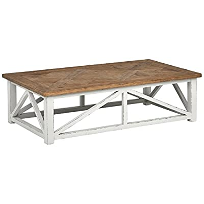 "Amazon Brand – Stone & Beam Coastal Breeze Rustic Farmhouse Coffee Table, 55.1""W, Natural and White - Bring a relaxing coastal feel into your home with the simple beauty of this coffee table. A top of recycled elm is paired with a poplar wood base and given a distressed white painted finish. This piece also blends with modern farmhouse décor. 55.1""W x 31.5""D x 16.1""H Reclaimed elm top on base of poplar wood - living-room-furniture, living-room, coffee-tables - 41E8LbFieYL. SS400  -"