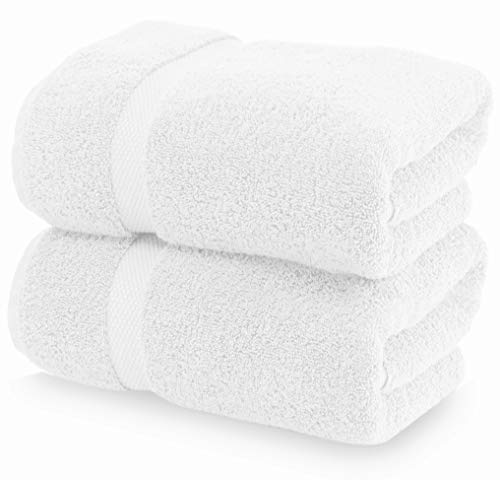 Luxury White Bath Towels Large - Circlet Egyptian Cotton | Highly Absorbent Hotel spa Collection Bathroom Towel | 30x56 Inch | Set of 2 (Towels Extra Long Bath)