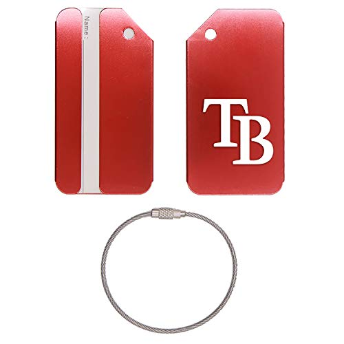 (MLB Tampa Bay Rays LOGO 6 STAINLESS STEEL - ENGRAVED LUGGAGE TAG - SET OF 2 (SCARLET RED) - FOR ANY TYPE OF LUGGAGE, SUITCASES, GYM BAGS, BRIEFCASES, GOLF BAGS)