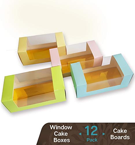 Cookeezz Couture - Colored Window Cake Boxes 9 x 4 x 3.5 Inch Paperboard Boxes Auto Popup Great for Bakery, Cakes, Cupcake - Assorted 12 Pack Boxes in 4 Pastel Colors Also Included 12 Cake Boards