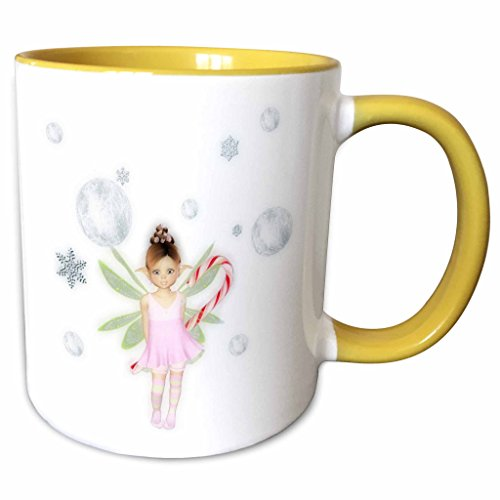 3dRose Renderly Yours Fairies - Cute Christmas Fairy With Snowflakes, Silver Balls And Candy Cane - 15oz Two-Tone Yellow Mug (mug_185390_13)