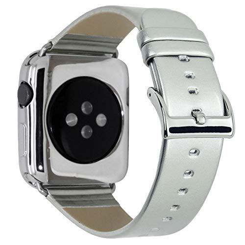 CRAZY PANDA Leather Band for Apple Watch Band 42mm 44mm, Genuine Leather Shiny Bling Glitter Strap Compatible Apple Watch Series 4 3 2 1 - Silver - Patent Leather Band