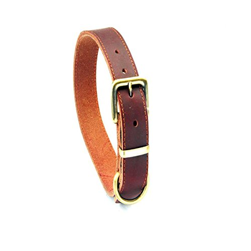 Leather Dog Collar, Dog Care Adjustable Brown Heavy Duty Genuine Leather Dog Collar for Small Medium and Large Dogs (Bison Leather Dog Collar)
