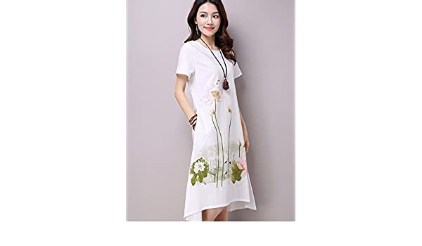 8e267c034 Summer Dress Plus Size Short Sleeve White Women Dress Casual Cotton Linen  Dress Lotus Printing O-Neck Vestidos de Festa (XL, White) at Amazon Women's  ...