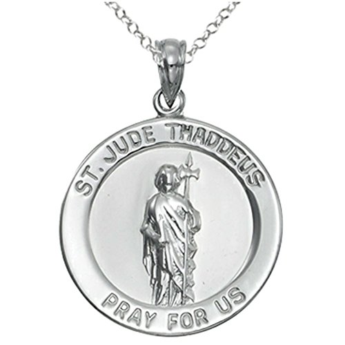 [Sterling Silver Rhodium Large St. Jude Medal Pendant Necklace w/Chain] (Sterling Silver Designer Slide Pendant)