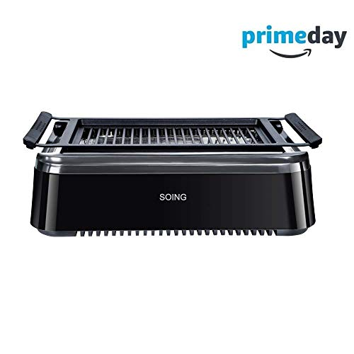 Soing Smoke-less Indoor BBQ Grilll, Electric Tabletop Grill, Non-Stick Easy to Clean BBQ Grill, ETL Certified, Black