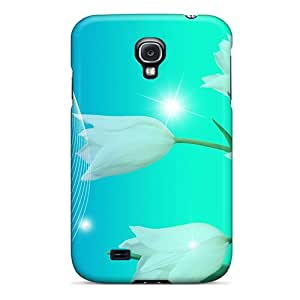 New Arrival Cover Case With Nice Design For Galaxy S4- White Tulips Sparkle
