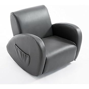 Qaba 20u201d Kids PU Leather Rocking Chair   Gray