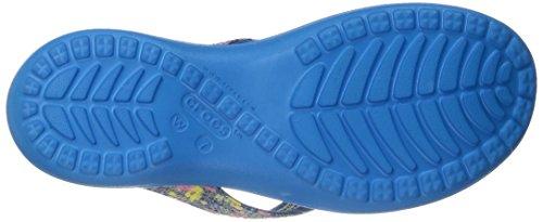 crocs Womens Capri V Graphic Sequin Flip Ocean