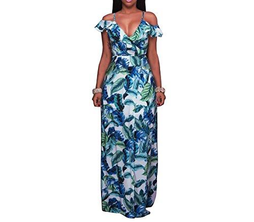 Luce Sexy Di Lkous Vestito Donne Maxi Floreale Stampa Spaccatura Backless Halter Vestito Spiaggia Blu Delle Lunga rwSvqCr