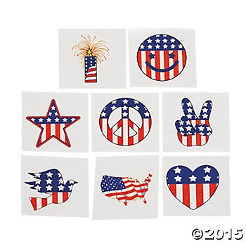 72 USA Patriotic TATTOOS /4TH of JULY - Birthday Party/TEACHER/Classroom Giveaways/Doctor/Dentist/DAYCARE/Favors 6 DOZEN ()