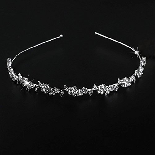 (ULTNICE Wedding Women's Crystal Bridal Flower and Leaves Crown Headband Tiara)