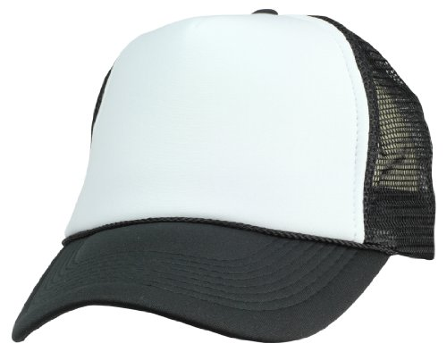 (DALIX Two Tone Summer Mesh Cap in Black and White Trucker Hat)
