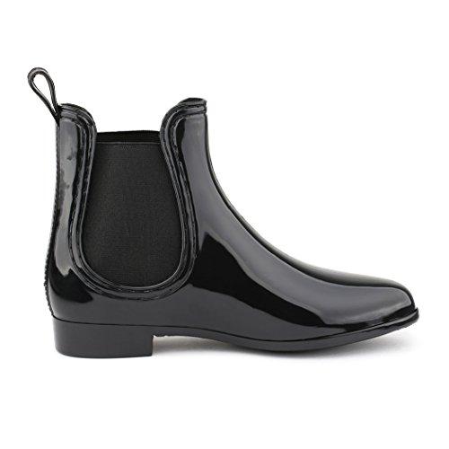 best-boots - Botines chelsea de goma mujer negro - negro