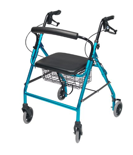 Lumex Walkabout Wide Four Wheel Rollator, 18.5 Inches, Aqua