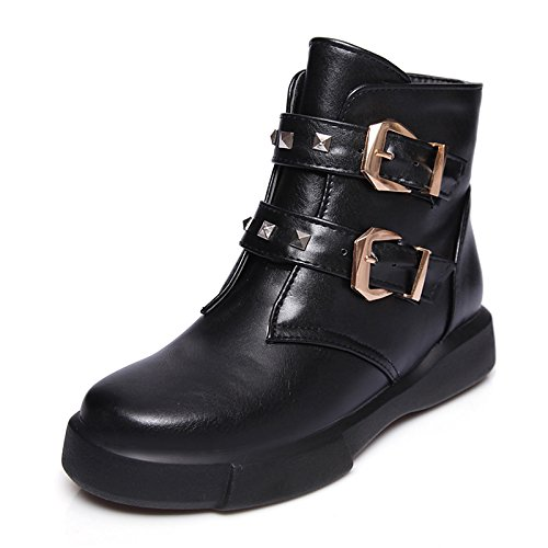 ZHZNVX HSXZ Zapatos de Mujer Moda Otoño Invierno Piel Sintética PU Botas Botas Bota Punta Redonda Plana Botines/Botines Hebilla Remache para Office\Carrera,Negro,US7.5/UE38/UK5.5/CN38 38 EU