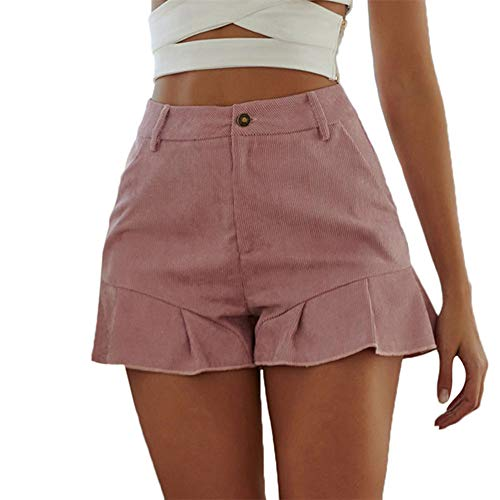 (wodceeke Casual Shorts Pants, High Waisted Women's Slim Straight Solid Color Pocket Ruffle Shorts Pants with Pockets (M, Pink))
