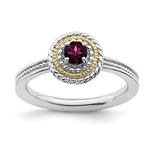 925 Sterling Silver 14k Rhodolite Red Garnet Band Ring Size 5.00 Stackable Gemstone Birthstone June Fine Jewelry Gifts For Women For Her
