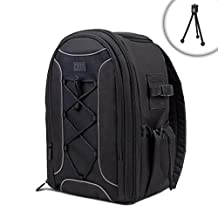 USA Gear S16 Soft Padded SLR Camera Backpack Case with Tripod Foot Holder , Nylon Exterior & Waterproof Rain Cover - Works with Canon Powershot G5 X , SX410 IS , EOS 5D Mark III & More Cameras