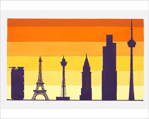 Photographic Print of Illustration of Hong Kong and Shanghai Bank, Eiffel Tower, Centre - Point Center Sydney