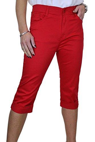 Jeans Donna Ritagliata La Rosso Ice Stirata Con Capri UTxfvZ