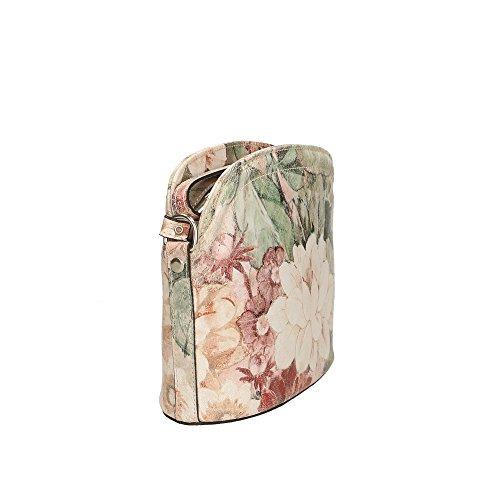 Fantaisie véritable à cuir en Fleurs bandoulière Aren 23x20x9 in Made Italy Cm 3 femme Sac OqwYgfF