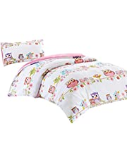 SCM Kids Owl Family Quilt Cover and Pillowcases, Funnny Owls and Flower Print, 100% Breathable 180 Thread Cotton, Trendy Bedding Set