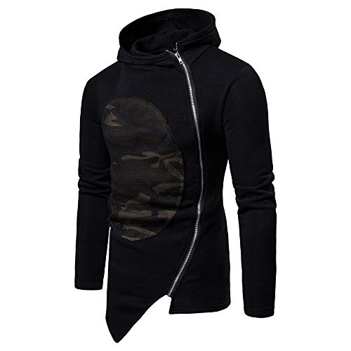 Jacket Classic Men's PASATO Blouse Outwear Long Sleeve Patchwork Hooded Coat Camouflage Causal Black Zipper r8rqnCxRw