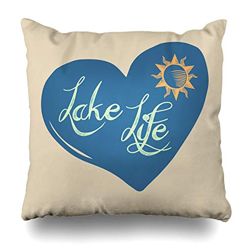 Suesoso Decorative Pillows Case 18 X 18 Inch Lake Life Throw Pillowcover Cushion Decorative Home Decor Garden Sofa Bed Car