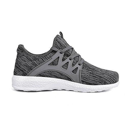 Mxson Womens Sneakers Ultra leichte atmungsaktive Mesh Sport Gym Wanderschuhe Grau weiß