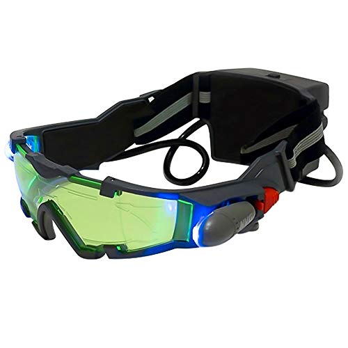 ALLOMN Spy Night Vision Goggles with Flip-Out, Adjustable Kids LED Night Green Lens Glasses for Hunting Racing Bicycling, Skying to Protect Eyes ()