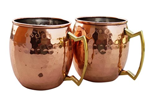STREET CRAFT 100% Authentic Hammered Copper Moscow Mule Mug Handmade of 100% Pure Copper Brass Handle Hammered Moscow Mule Mug Cup Size 16 Ounce Pack of 2 With Nickel Lined