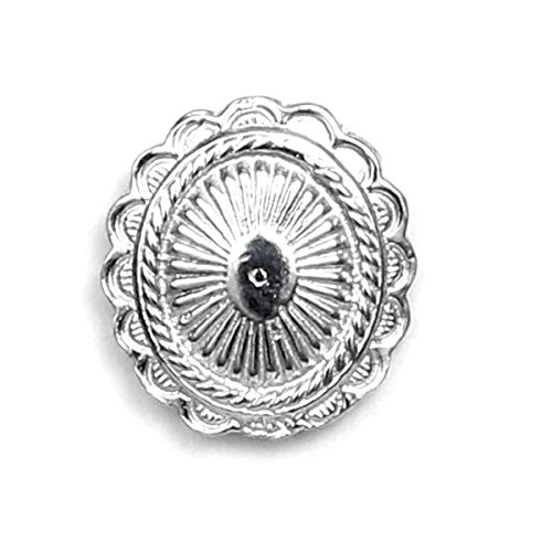 Oval Concho Scarf Pin with Magnetic Back Closure - Gift Packaged - No holes in Clothes - Handcrafted Pewter Made in USA