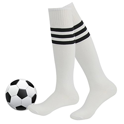 Womens Soccer Socks,Fasoar Unisex Stripe Knee High Rubgy Baseball Sports Socks 2 Pairs White