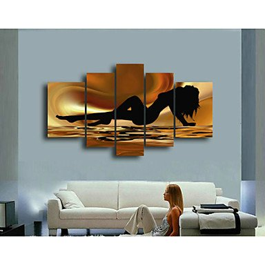 Sanbay Art 100% Hand Painted Oil Paintings on Canvas Hot Sale Sexy Woman Lie Down Framed Inside 5-pieces Set Artwork for Living Room Kitchen and Home Wall (Famous Couples Halloween)