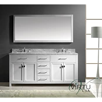 72 in vanity double sink. Virtu USA MD 2072 WMSQ WH Caroline 72 Inch Bathroom Vanity with  White Double Sink Isabella Amazon com