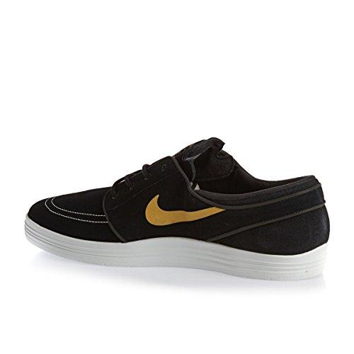 Nike Lunar Stefan Janoski Hommes Chaussures De Skate 654857 Noir / Sommet Blanc-métallique Or